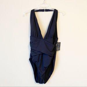 La Blanca NWT Halter Ruched Black Swimsuit - 14